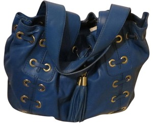 Michael Kors Leather Drawstring Tote in Royal Blue