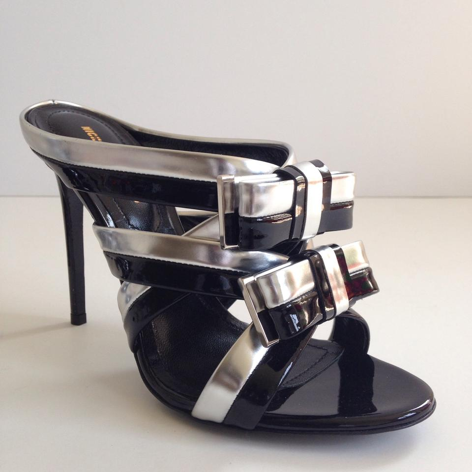 2fb678222f4e0 Nicholas Kirkwood Black-silver Bow-band Mules Sandals Size US 7 Regular (M