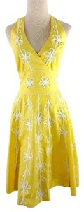 Lilly Pulitzer short dress Yellow Halter Floral Embroidered on Tradesy