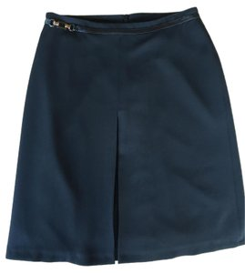Magda Rose Vienna Two-tone Mini Vintage Faux Leather Skirt Black