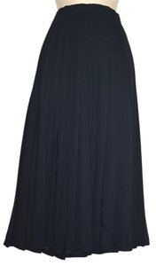 Augustus Dressy Black Chiffon Silky Pleated Skirt, Full, Lined, Size 4 Maxi