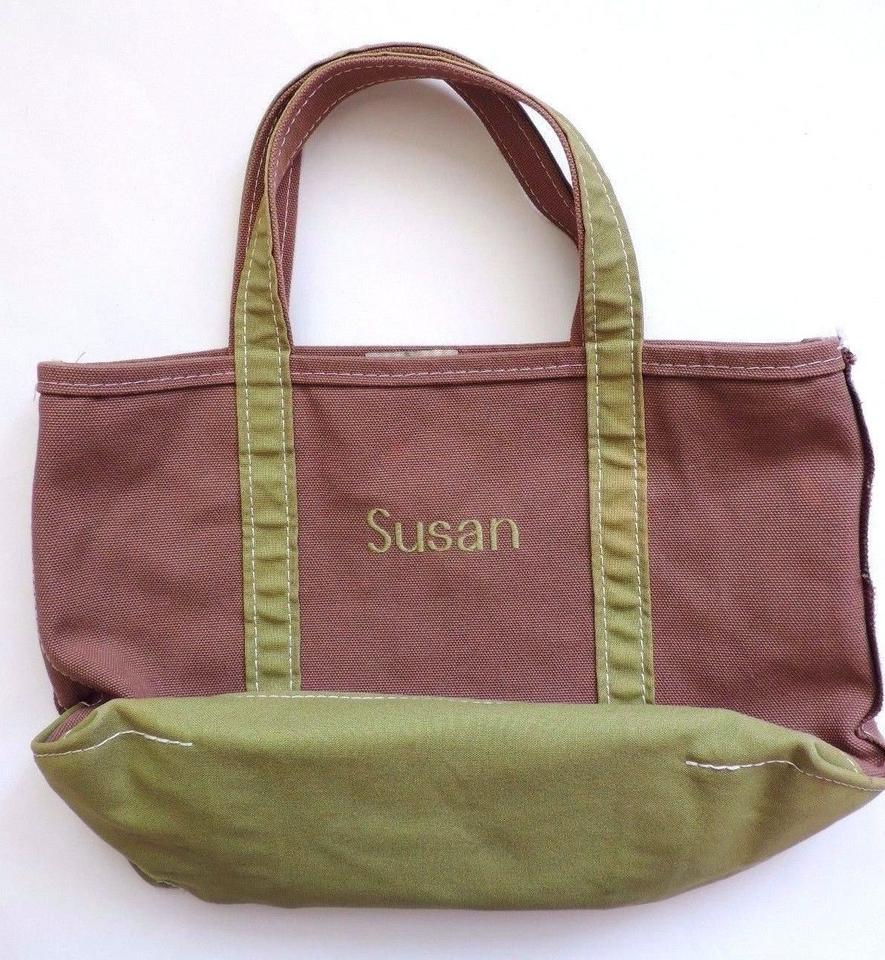 Fabulous L L Bean Small Custom Boat And Monogrammed Susan Made In Usa Brown Green Canvas Tote Cjindustries Chair Design For Home Cjindustriesco