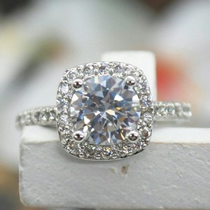 9.2.5 Size 4 5 6 7 8 9 Bridal Engagement Wedding Cz S925 Sterling Silver 1.5 Carat Diamond Ring Halo Square Cushion Jewelry 9