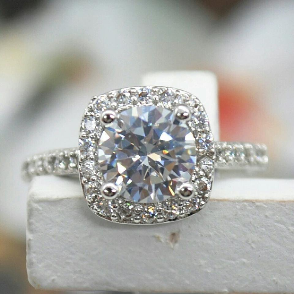 9 2 5 Size 4 5 6 7 8 Engagement Cz S925 Sterling Silver 1 5 Carat Diamond Halo Square Cushion Ring