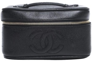 Chanel Chanel Black Caviar Square CC Cosmetic Case
