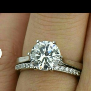 All Sizes Vvs1 2ct Band Set Jewelry Single Solitaire Eternity Band Cushion Cut 4 5 6 7 8 Enagement Sona Nscd Diamond Lab
