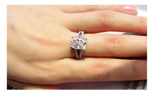 All Sizes Vvs1 3.85ct Cushion Cut Man Made 4.5 5 5.5 6 6.5 7 7.5 8 8.5 9 9.5 Enagement Sona Nscd Diamond Proposal Square