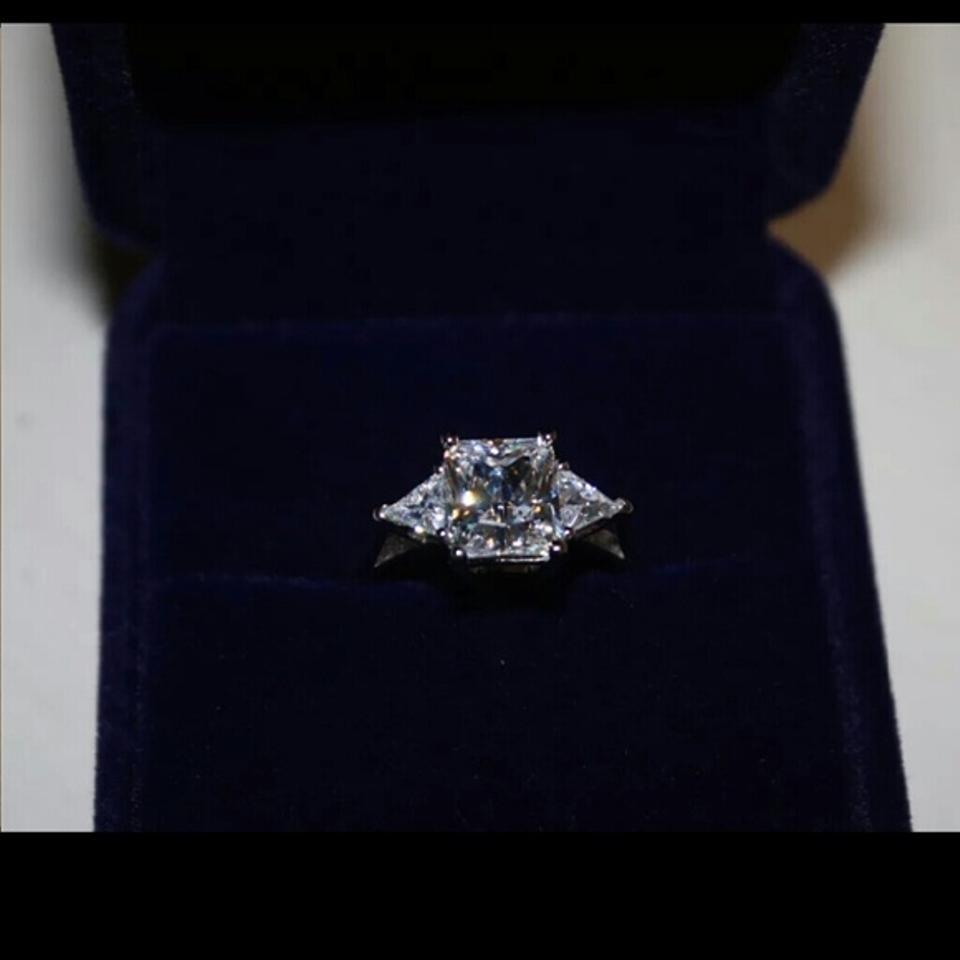 All Sizes Vvs1 2ct Cushion Cut Diamond Engagement Ring Pt950 3ct Nscd Sona  Simulated Solitaire Diamond