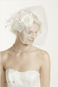 David's Bridal Ivory Birdcage Vintage Hat with Attached Flowers and Blusher Bridal Veil