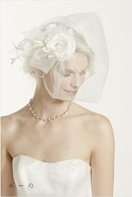 Item - Ivory Birdcage Vintage Hat with Attached Flowers and Blusher Bridal Veil