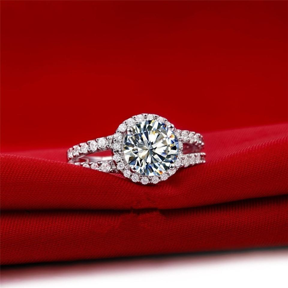 All Sizes Vvs1 2ct Cushion Cut Diamond Engagement Ring Pt950 Nscd Sona  Simulated Solitaire Diamond Engagement