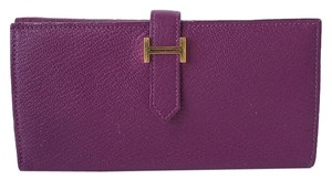 Herms Hermes Bearn Epsom Purple Wallet