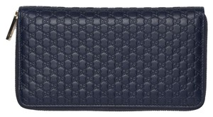 Gucci NAVY MICRO GUCCISSIMA LARGE GG ZIPPY WALLET. BREATHTAKING!