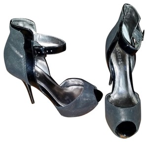 Bakers Metallic Silver Black Pumps