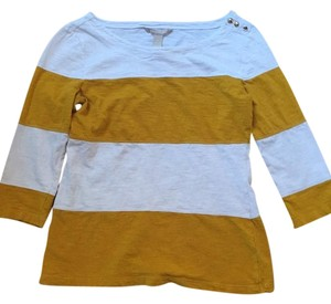 Banana Republic Top White yellow mustard