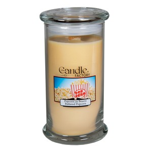 The Candle Factory Large 15-ounce Jar Crackling Candle Buttered Popcorn