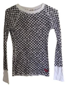 Roxy Checkered Longsleeve Layering Fitted T Shirt Black and white