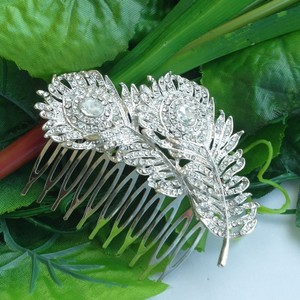 9.2.5 New Hair Comb Wedding Bridal Bridesmaide Boho Vine Leaf Hair Comb Clip Cz Diamond Flower