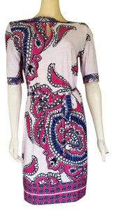 AA Studio short dress Multi-color Floral Sheath Tie Belt Slinky on Tradesy
