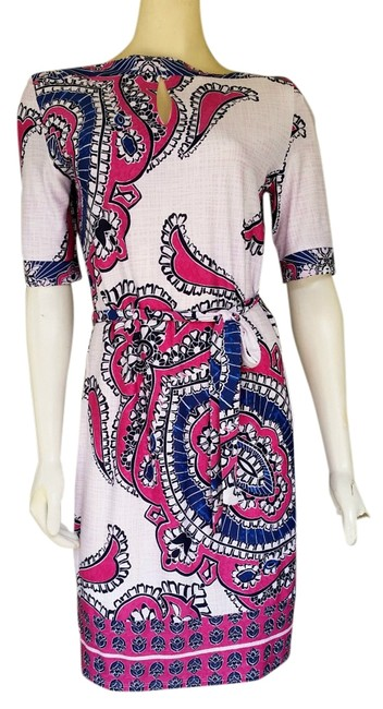 Item - Multi-color W Pink Blue Floral W/ Tie Belt Knee Length Short Casual Dress Size 8 (M)