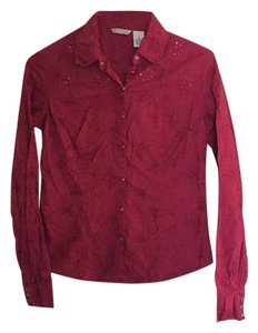 Maurices Embroidered Flowers Western Longsleeve Button Down Shirt Red