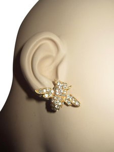 Roxanne Assoulin Swarovski Crystal Bee Gold Plated Clip Earrings --SUPERB!