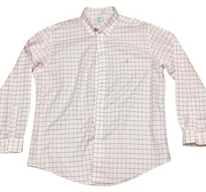 Brooks Brothers Button Down Shirt White & salmon