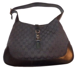 Gucci Monogram Black Large Logo Jackie O Chrome Hardware Like New Condition Hobo Bag
