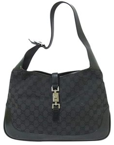 55b55f2a5c95 Gucci Large Logo Jackie O Chrome Hardware Excellent Vintage Dressy Or  Casual Hobo Bag