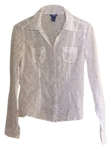 Lilu Pockets Polka Dot Layered Longsleeve Button Down Shirt White pink and purple
