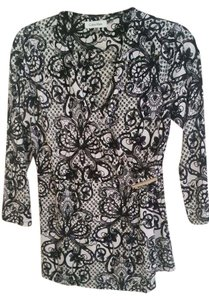 Calvin Klein Jersey Lace Print Top Black and white