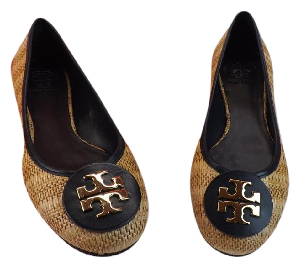 e95d10f6319 Tory Burch Navy Blue Natural Leather Straw Raffia Big Gold Reva ...