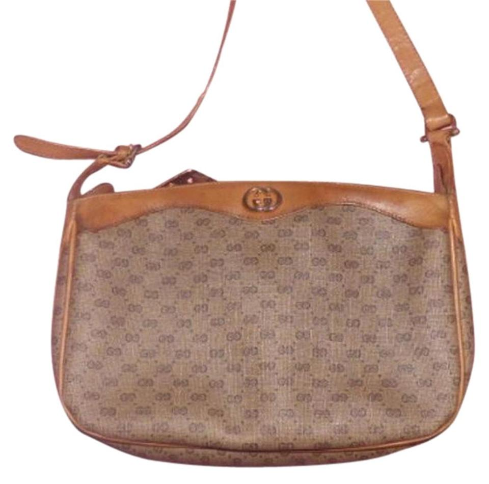 1da1ceeefc9af6 Gucci Shoulder/Cross Body Small G Logo Print Canvas/Leather Shades Of  Excellent Vintage ...