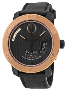 Movado Black Dial Bronze Bezel Black Leather Strap Designer MENS Dress Casual Watch