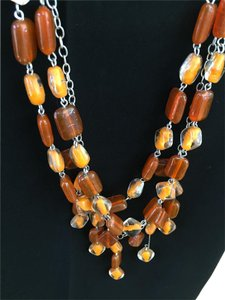 Glass bead necklace with matching earrings