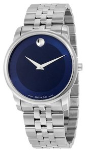 Movado Metallic Blue Dial Silver tone Stainless Steel Designer MENS Dress Wat ch