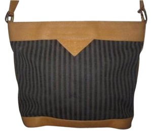 Fendi Bucket Leather Black/Grey Stripes Excellent Vintage Early Cross Body Bag