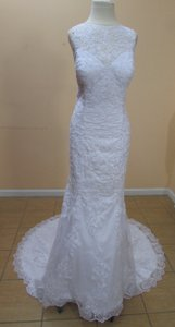 DaVinci Bridal White Tulle+lace 50293 Formal Wedding Dress Size 12 (L)