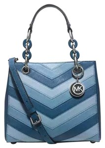 Michael Kors Cynthia Leather Satchel in Sky Blue Silver tone