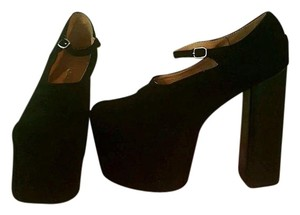 Jeffrey Campbell Suede Mega Mary Jane Chunky Black Platforms