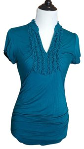 Maurices Slit Neck Cap Sleeves T Shirt deep teal blue