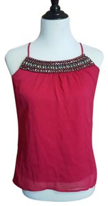 Studio Y Beaded Embellished Racer-back Layered Chiffon Top deep bright berry pink