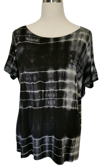 Item - Black White Short Sleeve Oversized Tie Dye Small Blouse Size 6 (S)