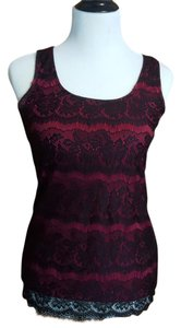Studio Y Scalloped Lace Overlay Soft Top beet red- deep bright berry pink