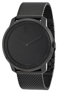 Movado Black Ion Plated Stainless Steel Mesh Bracelet Designer Unisex Casual Dress Watch