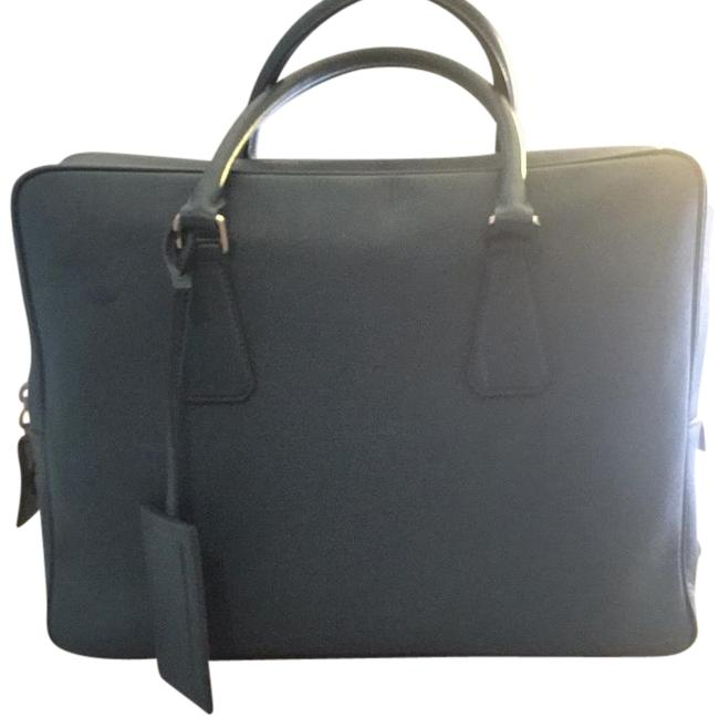 Item - Travel Turquoise Saffiano Calf Skin Leather Laptop Bag