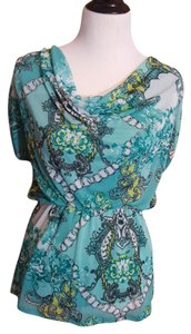 Studio Y Lined Gathered Waist Top seafoam green and white print