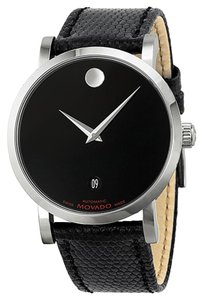Movado Black Dial Silver Stainless Steel Embossed Leather Strap MENS Watch