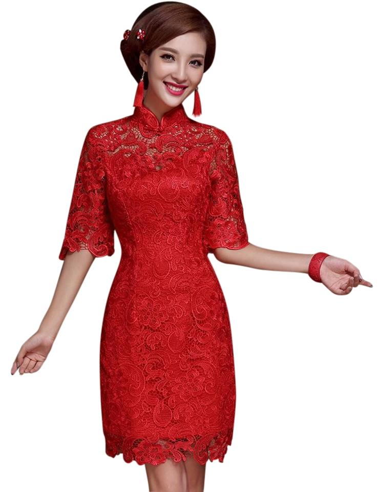Avatar Imports Red Lace Traditional Chinese Knee Length Formal Dress