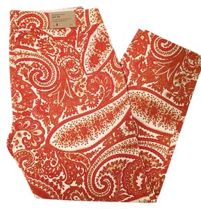J.Crew Pants Crops Ankle Pants Chino Capris Orange Paisley